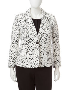 Kasper Plus-size Black & White Dot Crepe Jacket
