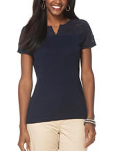 Chaps Solid Color Navy Lace Yoke Knit Top