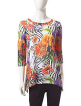 Onque Casuals Tropical Animal Print Knit Top