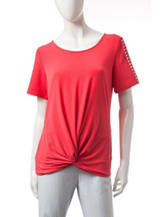 Notations Solid Color Twist Front Embellished Knit Top