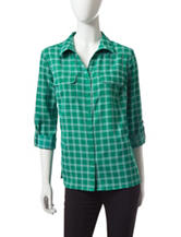 Notations Windowpane Plaid Woven Top