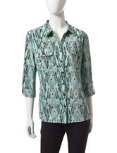 Notations Multicolor Abstract Print Woven Top