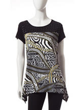 Notations Embellished Animal Print Top