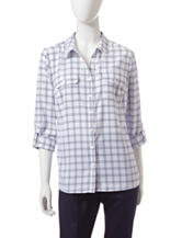 Notations Window Pane Plaid Button Up Top