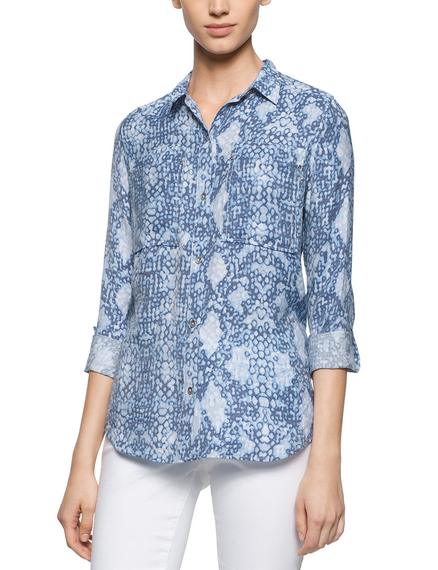 Calvin Klein Jeans Blue Multi Shirts & Blouses