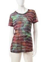 Hannah Multicolor Abstract Print Burnout Top