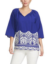 Chaus Blue & White Embroidered Tassel Peasant Top