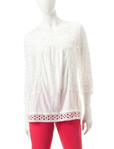 Hannah Ivory Crochet Lace Peasant Top