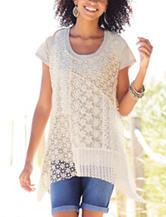 Hannah Patchwork Crochet Knit Top