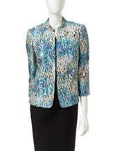 Kasper Blue & Yellow Abstract Speckle Print Jacket