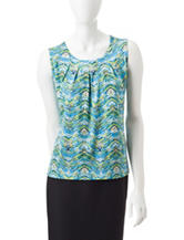 Kasper Chevron Print Top