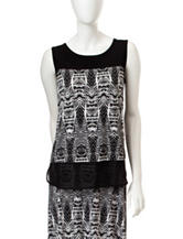 Kasper Black & White Tribal Print Top