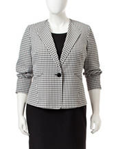 Kasper Plus-size Black & White Gingham Print Jacket