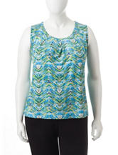 Kasper Plus-size Multicolor Wave Print Top