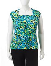 Kasper Plus-size Multicolor Bubble Print Top
