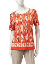 Alfred Dunner Ikat Print Knit Top