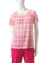 Alfred Dunner Biadere Pattern Knit Top