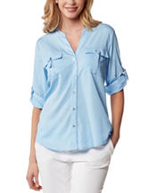 Calvin Klein Solid Color Light Blue Ring Pocket Top