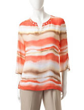 Alfred Dunner Watercolor Biadere Print Woven Top