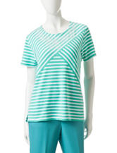 Alfred Dunner Splice Striped Knit Top