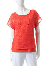 Alfred Dunner Pineapple Burnout Layered-Look Top