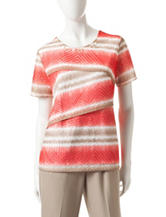 Alfred Dunner Tiered Burnout Stripe Top