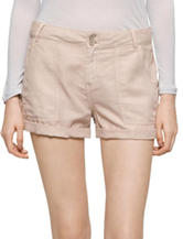 Calvin Klein Jeans Solid Color Taupe Linen Shorts
