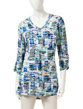 Onque Casuals Multi Tonal Static Print Tunic Top