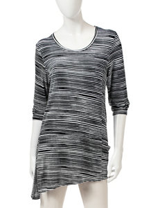 Onque Casuals Stripe Print Asymmetrical Tunic Top