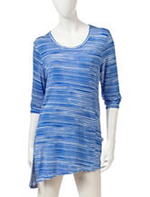 Onque Casuals Stripe Print Asymmetrical Tunic Top