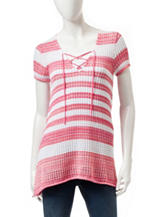 Jeanne Pierre Tie Front Striped Knit Top