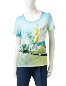 Onque Casuals Scenic Print Embellished Top