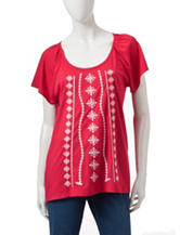 Rebecca Malone Embroidered Knit Top