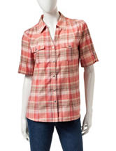 Cathy Daniels Plaid Print Button Front Top