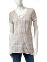 Jeanne Pierre Tie Front Spacedye Knit Top