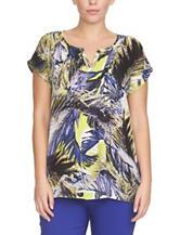 Chaus Palm Tropics Print Woven Top