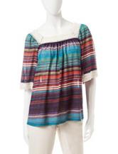 Hannah Multicolor Striated Print Crochet Trim Top