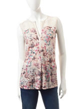 Hannah Multicolor Floral Print Lace Accent Top