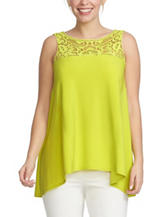 Chaus Solid Color Lime Lace Woven Top