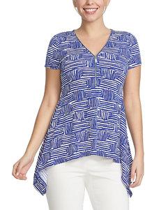 Chaus Blue Multi Shirts & Blouses