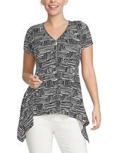 Chaus Basket Weave Print Zip Top