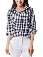 ABS by Allen Schwartz Black & White Gingham Check Print Top