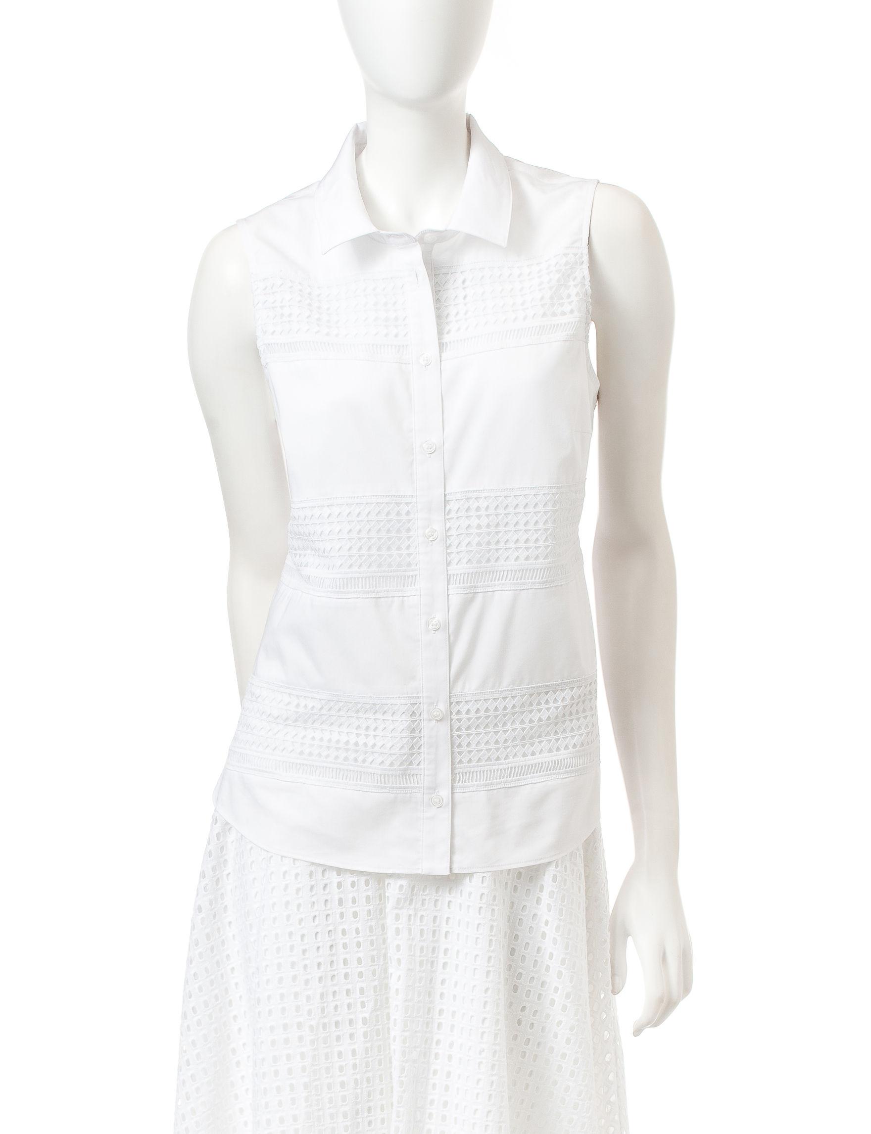 ABS by Allen Schwartz White Shirts & Blouses