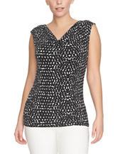 Chaus Black & White Confetti Print Knit Top