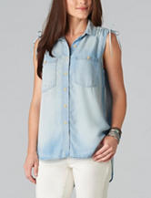 Democracy Light Chambray Cinched Top