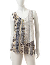 Energé Multicolor Tribal Inspired Print Layered Top