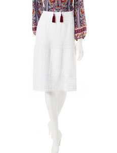 Hannah Solid Color White Eyelet & Crochet Lace Skirt
