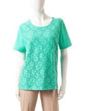 Alfred Dunner Solid Color Lace Knit Top