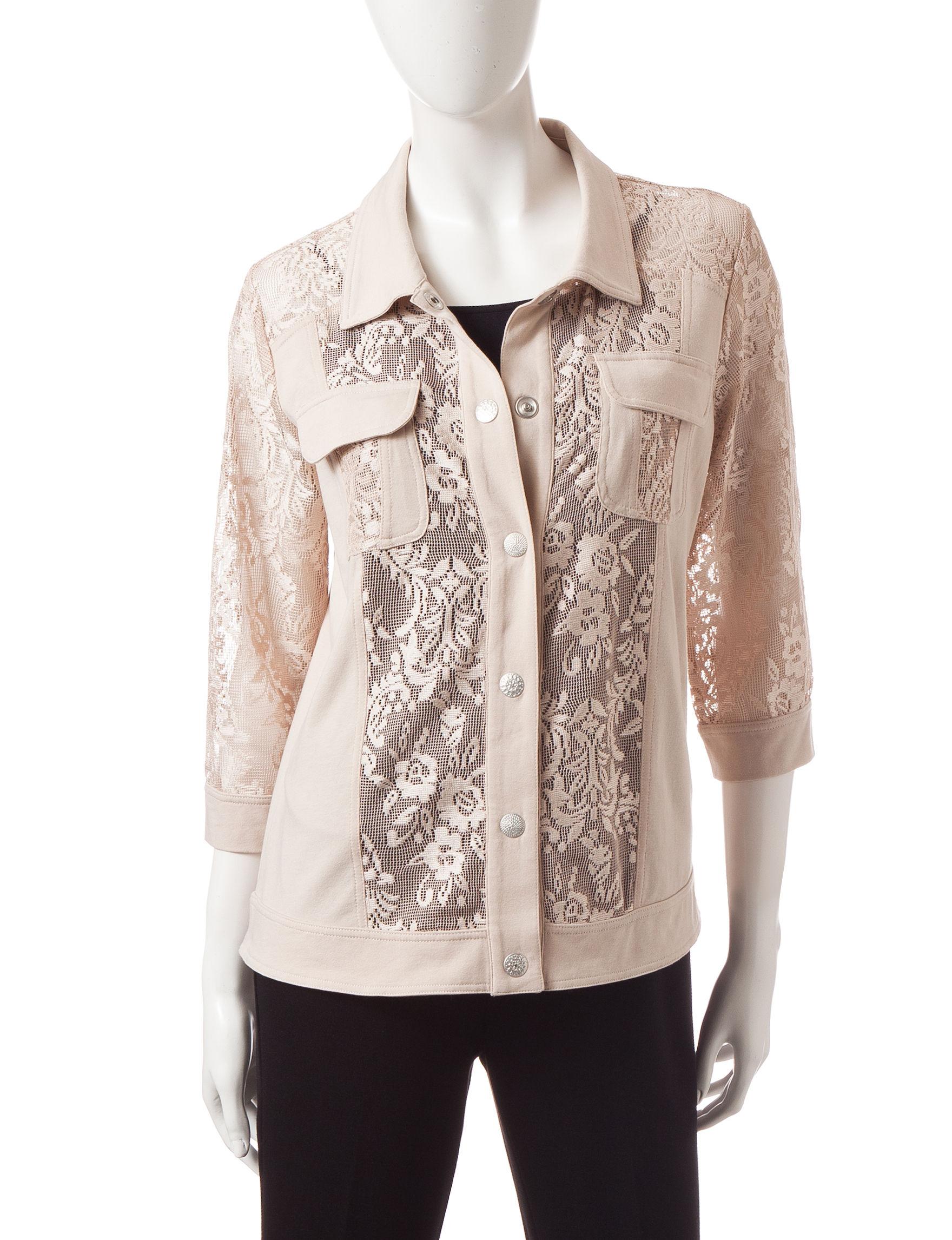 Onque Casuals Beige Lightweight Jackets & Blazers