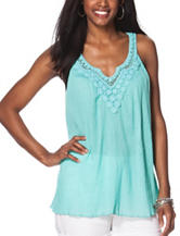 Chaps Solid Color Crochet Accent Top